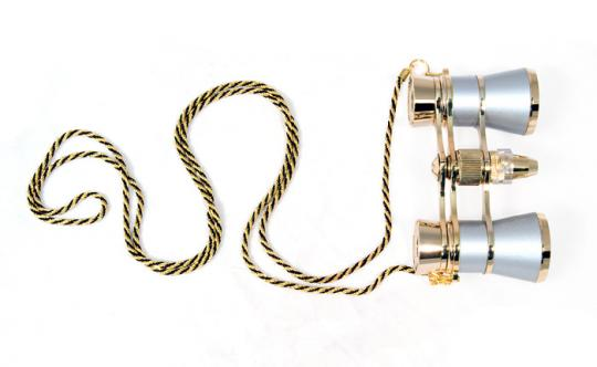 Бинокль Levenhuk Broadway 325F с подсветкой и цепочкой, серебро
